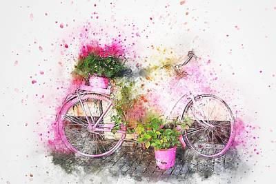 Painting - Shabby Chic Le Bicyclette 2 by Joy of Life Arts Gallery