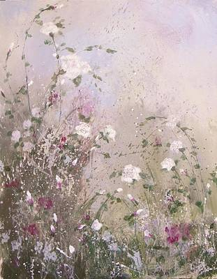 White Flowers Painting - Shabby Chic One by Laura Lee Zanghetti