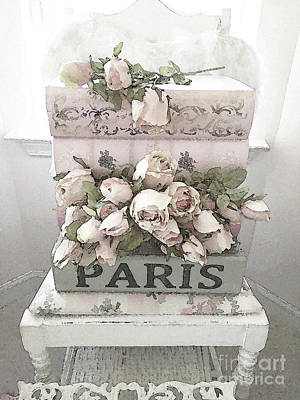 Floral Watercolor Photograph - Shabby Chic Pastel Paris Books And Roses - Paris Watercolor Roses by Kathy Fornal