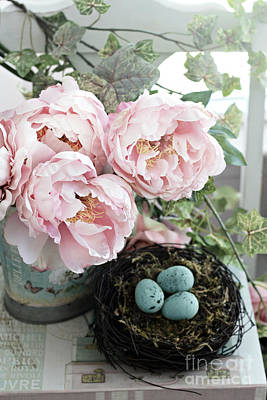 Shabby Chic Peonies With Bird Nest Robins Eggs - Summer Garden Peonies Art Print by Kathy Fornal