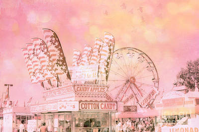 Festival Art Photograph - Shabby Chic Pink Carnival Art - Cotton Candy Pink Carnival Ferris Wheel Prints by Kathy Fornal