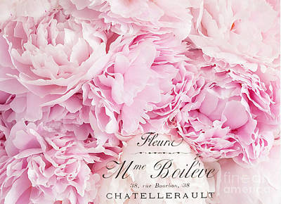 Photograph - Shabby Chic Pink Pastel Peonies French Script - Paris Pink Peonies Baby Girl Nursery Decor by Kathy Fornal