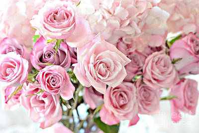 Shabby Chic Pink Pastel Roses - Romantic Cottage Pink Pastel Roses Floral Decor Art Print by Kathy Fornal