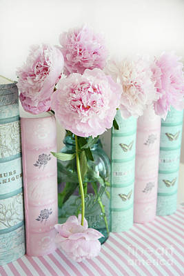 Photograph - Shabby Chic Pink Peonies Books Print - Romantic Pink Peonies Aqua Pink Books Decor by Kathy Fornal