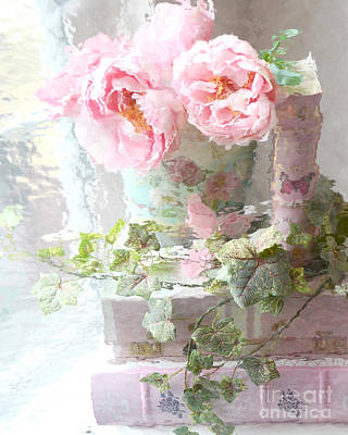 Shabby Chic Pink Peonies Impressionistic Romantic Dreamy Cottage Peonies On Pink Books Art Print by Kathy Fornal