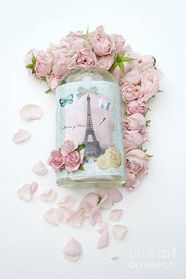 Shabby Chic Pink Roses Eiffel Tower Floral Print - Parisian Eiffel Tower Roses Decor Art Print