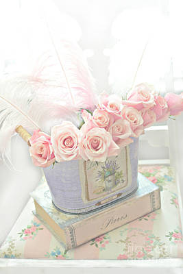 Shabby Chic Pink Roses On Paris Books - Romantic Dreamy Floral Roses In Bucket Art Print by Kathy Fornal