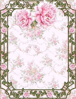 Mixed Media - Shabby Chic Pretty Peonies by Shabby Chic and Vintage Art