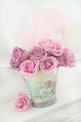 Shabby Chic Romantic Bucket Of Roses - Shabby Cottage Romantic Pink Roses Floral Art Art Print by Kathy Fornal
