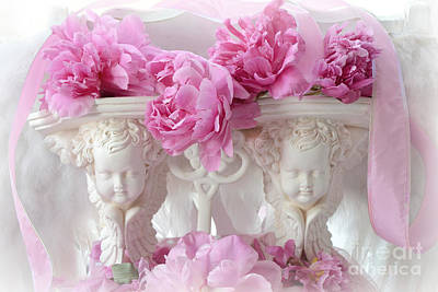 Cherub Photograph - Shabby Chic Romantic Cottage Pink Peonies And Cherubs - Pink Peonies White Cherubs Decor by Kathy Fornal