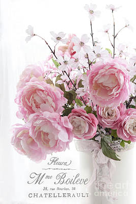Shabby Chic Romantic Pink Pastel Peonies With French Script - Paris French Pink Peonies In Vase Print by Kathy Fornal