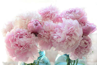 Shabby Chic Romantic Pink Peonies In Aqua Mason Jars - Shabby Cottage Aqua Pink Paris Peonies Art Print by Kathy Fornal