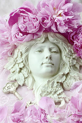 Photograph - Shabby Chic Romantic Peonies With Angel Sculpture - Dreamy Peonies Love Angelic Sculpture Art by Kathy Fornal
