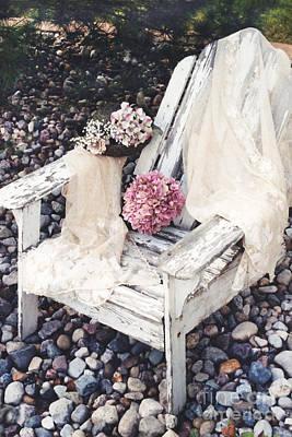 Shabby Chic Romantic White Adirondac Vintage Garden Chair Art Print by Kathy Fornal