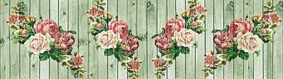 Mixed Media - Shabby Chic Rose Bouquets On Wood by Shabby Chic and Vintage Art