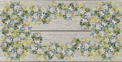 Mixed Media - Shabby Chic Spring Flowers On Wood by Shabby Chic Art