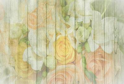 Mixed Media - Shabby Chic Spring Pastel Roses On Wood Background by Shabby Chic and Vintage Art