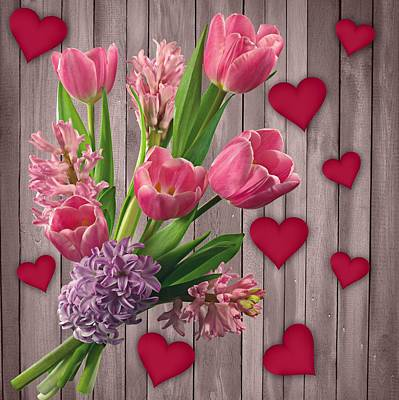 Mixed Media - Shabby Chic Tulips And Hearts On Wood Background by Shabby Chic and Vintage Art