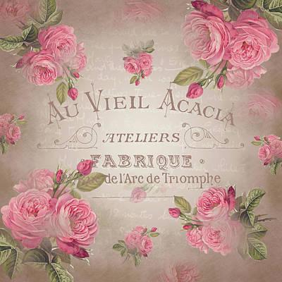 Digital Art - Shabby Chic Vintage French Roses Rose Beige by ReadyForYoga Online-Shop