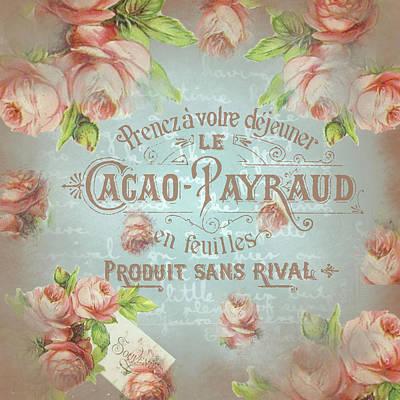 Digital Art - Shabby Chic Vintage French Roses Lightblue Pastel by ReadyForYoga Online-Shop