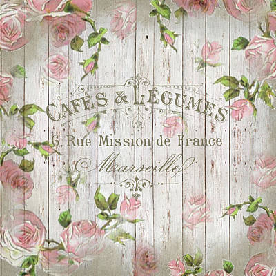 Digital Art - Shabby Chic Vintage French Rambling Roses Rose Beige  by ReadyForYoga Online-Shop