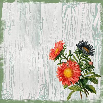 Painting - Shabby Chic Wildflowers On Wood by Joy of Life Art Gallery