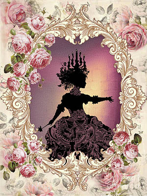 Shabby Fae Silhouette  With Chandelier Art Print