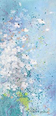 White Flowers Painting - Shabby Nine by Laura Lee Zanghetti