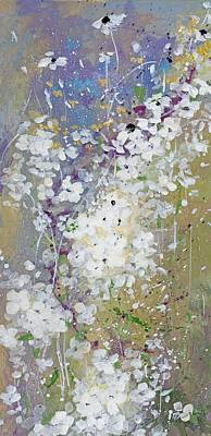 White Flowers Painting - Shabby Six by Laura Lee Zanghetti