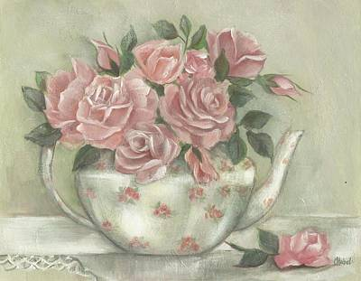 Shabby Teapot Rose Painting Art Print