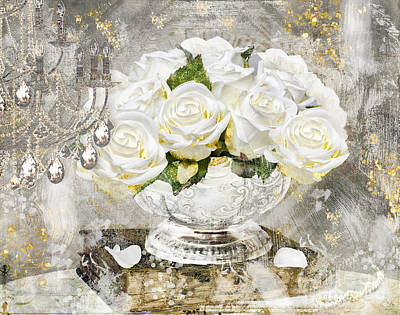 Shabby White Roses With Gold Glitter Print by Mindy Sommers