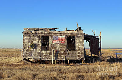 Shack With American Flag Art Print by John Greim