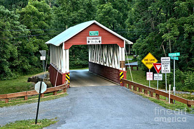 Photograph - Shade Gap Covered Bridge by Adam Jewell