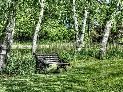 Photograph - Shaded Bench by Leslie Montgomery