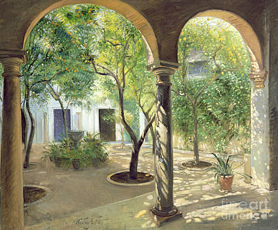 Andalucia Painting - Shaded Courtyard, Vianna Palace, Cordoba by Timothy Easton