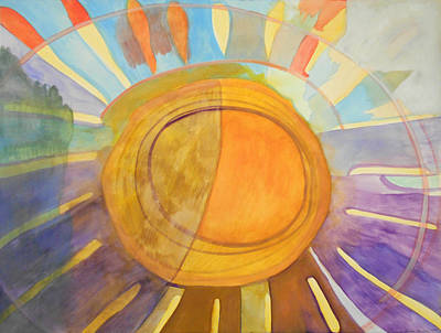 Expressionist Painting - Shaded Sun by Laura Joan Levine