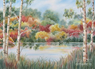 Lake Scene Painting - Shades Of Autumn by Deborah Ronglien