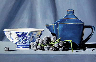 Teapot Painting - Shades Of Blue Teapot And Grapes by Lillian Bell