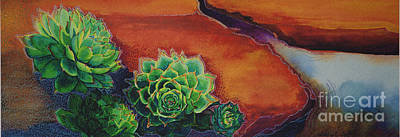 Hens And Chicks Painting - Shades Of Desert by Tracy L Teeter