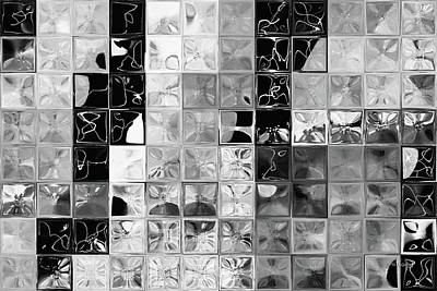 Painting - Shades Of Gray Tile Mosaic. Tile Art Painting by Mark Lawrence