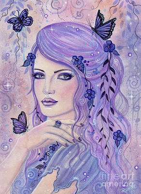 Painting - Shades Of Violet Fantasy Woman by Renee Lavoie
