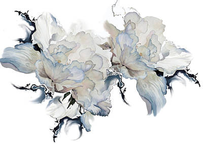 Painting - Shades Of White Peony by Hanne Lore Koehler
