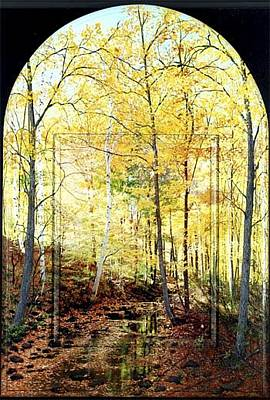 Connecticut Landscape Mixed Media - Shades Of Yellow Arched Top by Michael Albin