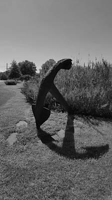 Photograph - Shadow Anchor B W by Rob Hans