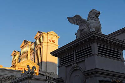 Photograph - Shadow And Light - Las Vegas Sunrise With A Winged Lion At Caesars Palace by Georgia Mizuleva