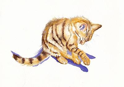 Tabby Cat Painting - Shadow Boxing by Debra Hall