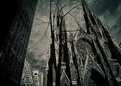 Photograph - Shadow Falls Across St. Patrick's Cathedral New York City by John Brink