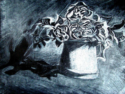 Still Life Drawings - Shadow Flowers  by Rayce Rapoza