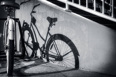 Beach Photograph - Shadow Of A Bike At Carolina Beach by Greg Mimbs