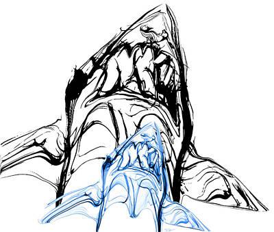 Shark Digital Art - Shadow Of A Great White Shark by Abstract Angel Artist Stephen K